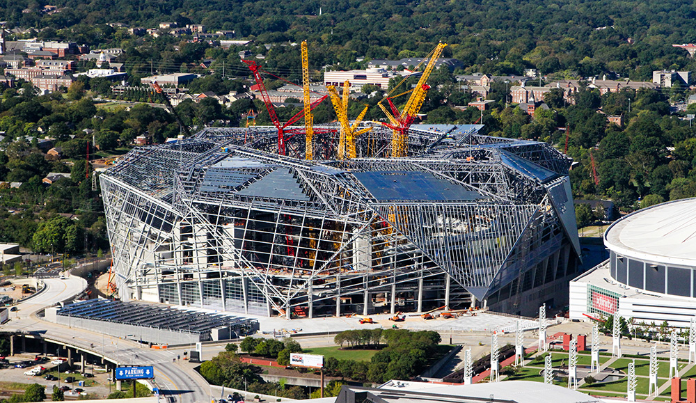 Mercedes-Benz stadium during construction (Atlanta, GA)